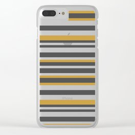 Golden, Black and White Vintage Stripes Clear iPhone Case