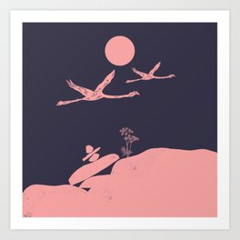 Flamingo Love Couple Art Print