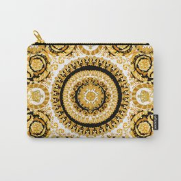 Vintage baroque illustration pattern, antique elements with golden frame on black background. Luxury victorian floral golden elements in a circle and greek lines. Carry-All Pouch