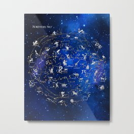 Northern Sky Constellations Map Metal Print