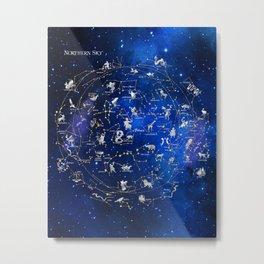 Northern Sky Constellations Map Metal Print