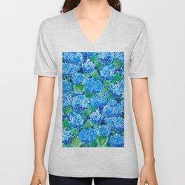 abstract blue hydrangea wall Unisex V-Neck