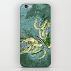 Abstract wattle in blue and green iPhone Skin