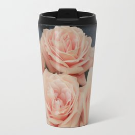 Peach Roses Vinette Country Farmhouse Style Photography Travel Mug