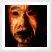 murakami Art Prints featuring Portrait of Haruki Murakami by H.L. Goyer