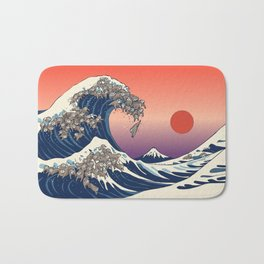 The Great Wave of Sloth Bath Mat