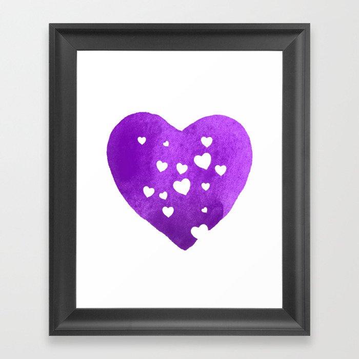 Purple Hearts Framed Art Print