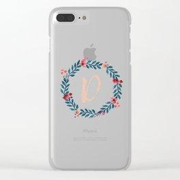 Watercolor Monogram Wreath Letter D Clear iPhone Case