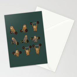 OLYMPIC LIFTING SLOTHS Stationery Cards