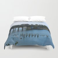 florence Duvet Covers featuring Siuslaw River Bridge - Florence  by Christiane W. Schulze Art and Photograph