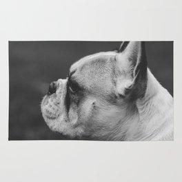 Wistful monochrome Frenchie Rug
