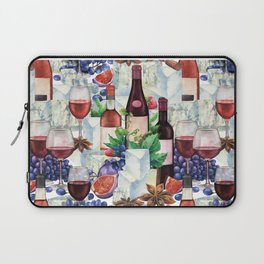Watercolor wine glasses and bottles decorated with delicious food Laptop Sleeve