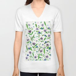 Purple Posies Unisex V-Neck