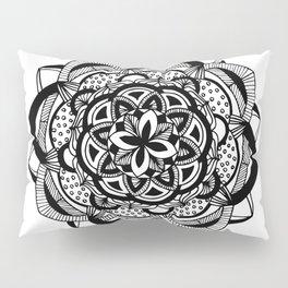 Blossoming black mandala on white (1) Pillow Sham