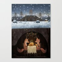 foxes Canvas Prints featuring Winter Foxes by Chuck Groenink