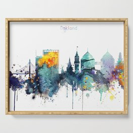 Watercolor Oakland skyline cityscape Serving Tray
