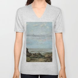 """Gustave Courbet """"The Beach at Trouville"""" Unisex V-Neck"""
