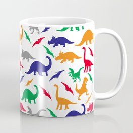 Colorful Dinos in Green, Grey, Red, Blue Yellow Coffee Mug