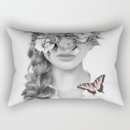 woman with flowers and butterflies 9a Rectangular Pillow
