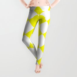 Large Diamonds - White and Yellow Leggings