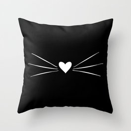 Cat Heart Nose & Whiskers White on Black Throw Pillow