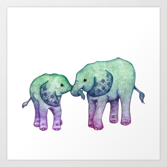 Baby Elephant Love - ombre mint & purple Art Print