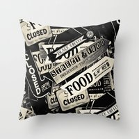 food Throw Pillows featuring FOOD by Vivian Fortunato