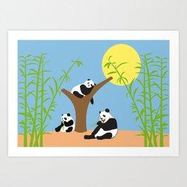 Panda bears with bamboo Art Print