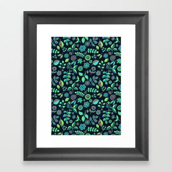 Neon Nature Doodles on Dark Denim Framed Art Print