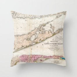 Long and Staten Island Map Throw Pillow
