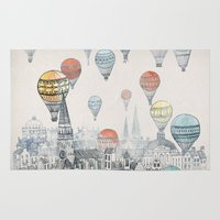 red hood Area & Throw Rugs featuring Voyages over Edinburgh by David Fleck