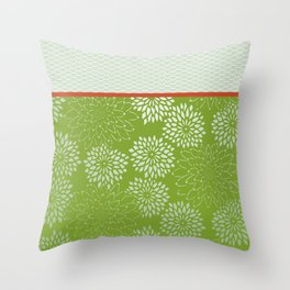 Dahlia Scallops Green and Orange Throw Pillow