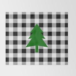 Christmas Tree - black buffalo check Throw Blanket