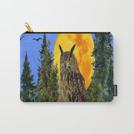 OWL WITH FULL MOON & TREES NATURE BLUE DESIGN Carry-All Pouch