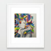 psychadelic Framed Art Prints featuring Psychadelic Lady by K. Artistry Studio