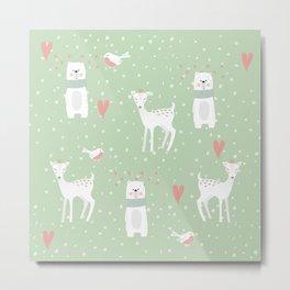 Fawn and bear mint green Metal Print