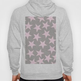 Pink stars on grey background Hoody