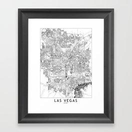 Las Vegas White Map Framed Art Print
