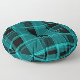 Strict strokes of light and light blue cells with bright stripes. Floor Pillow