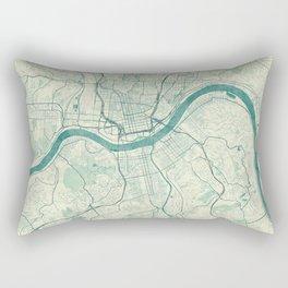 Cincinnati Map Blue Vintage Rectangular Pillow