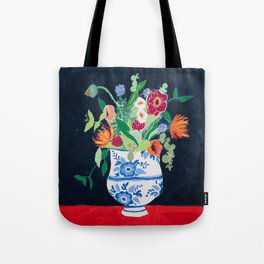 Bouquet of Flowers in Blue and White Urn on Navy Tote Bag