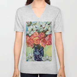 Camellias and Roses Unisex V-Neck