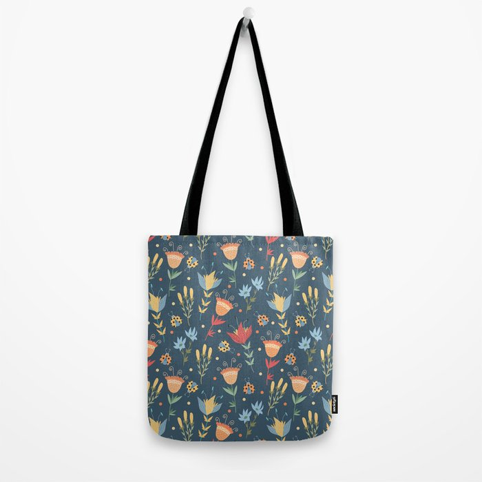 Floral blue pattern Tote Bag