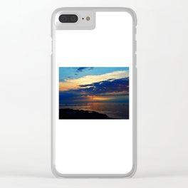 Blazing Sunset under Blue Sky Clear iPhone Case