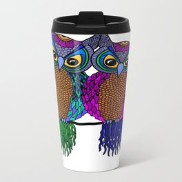 Owls in colourful love- white Metal Travel Mug