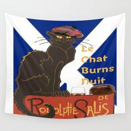 Le Chat Burns Nuit Haggis Dram Scottish Saltire Wall Tapestry