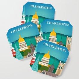 Charleston, West Virginia - Skyline Illustration by Loose Petals Coaster