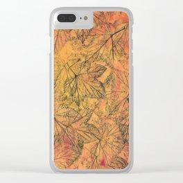 Orange Blackcurrant Leaves Clear iPhone Case