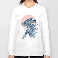 xenomorph Long Sleeve T-shirts featuring Floral Alien by Marie Toh