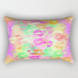 juicy kiss lipstick abstract pattern in pink orange green purple Rectangular Pillow